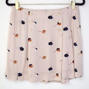 Free People Pleated Button Front Mini Skirt